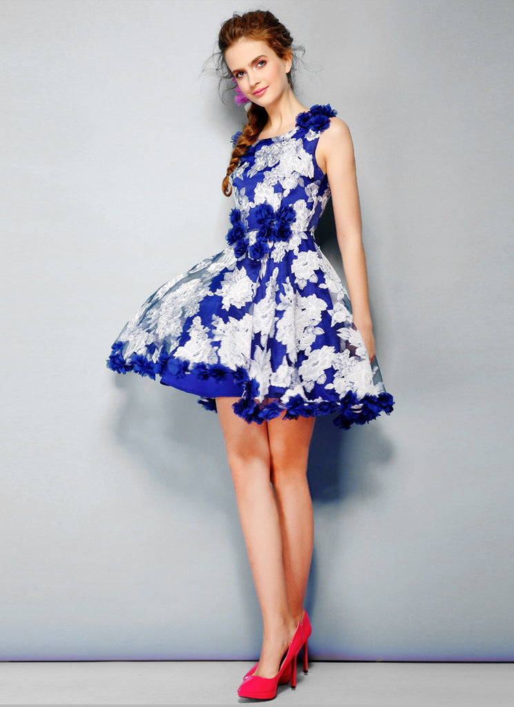 Blue Organza Fit and Flare Mini Dress with Floral Appliqué