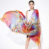 Digital Printed Silk Chiffon Scarf - Orange Red Silk Scarf with Feather Print - PS2-2
