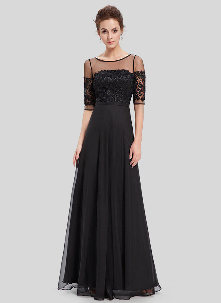 Black Lace Organza Chiffon Maxi Dress with V Back