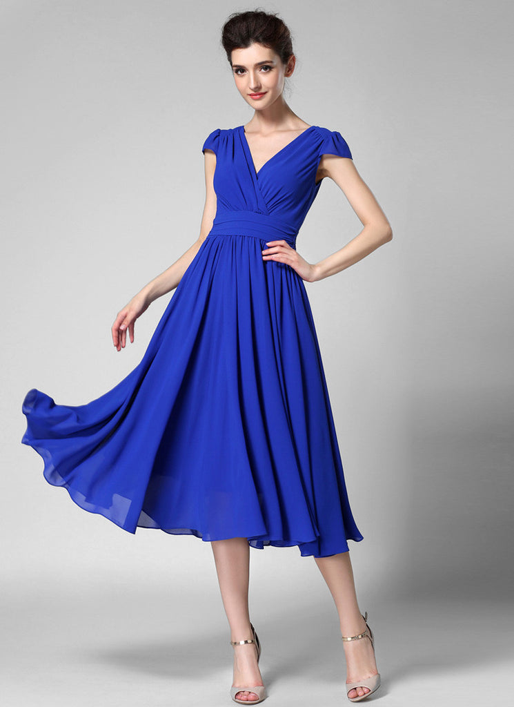 V Neck Blue Midi Chiffon Dress with Cap Sleeves and Ruched Waist Yoke