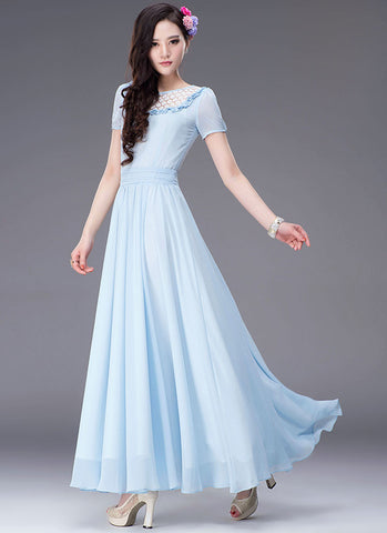 Light Blue Maxi Dress with White Lace Details RM314