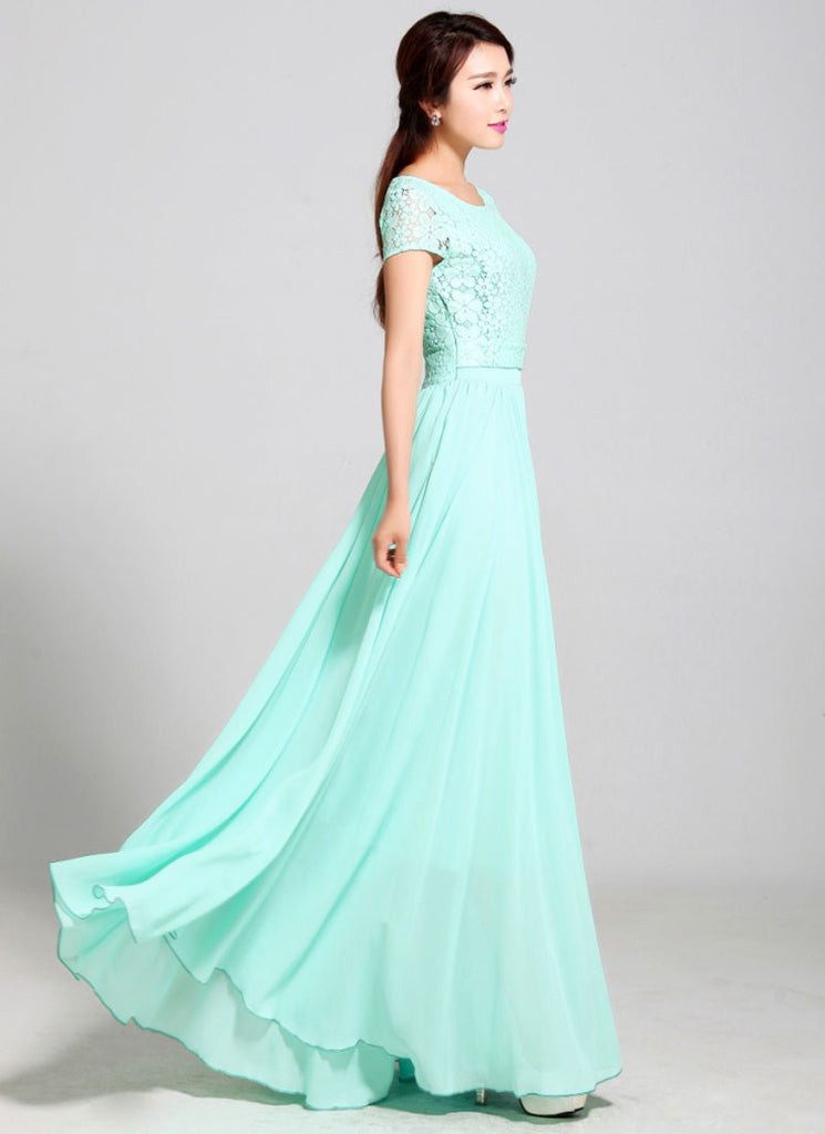 07a133ca47c6 Aquamarine Lace Chiffon Maxi Dress with Cap Sleeves RM320 – RobePlus