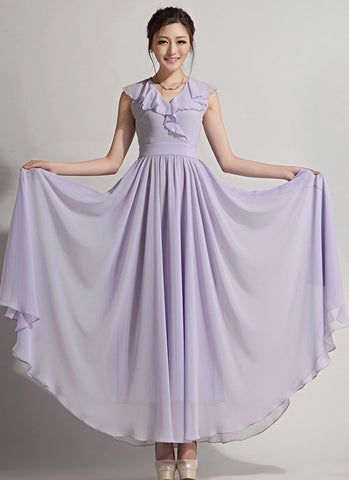 Thistle Chiffon Maxi Dress with Draped V Neck RM643