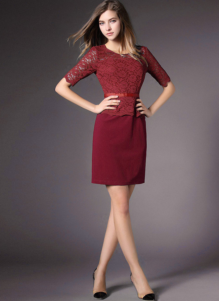 Maroon Lace Peplum Mini Dress with Scallop Details