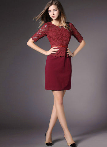 Maroon Lace Peplum Mini Dress with Scallop Details RD559