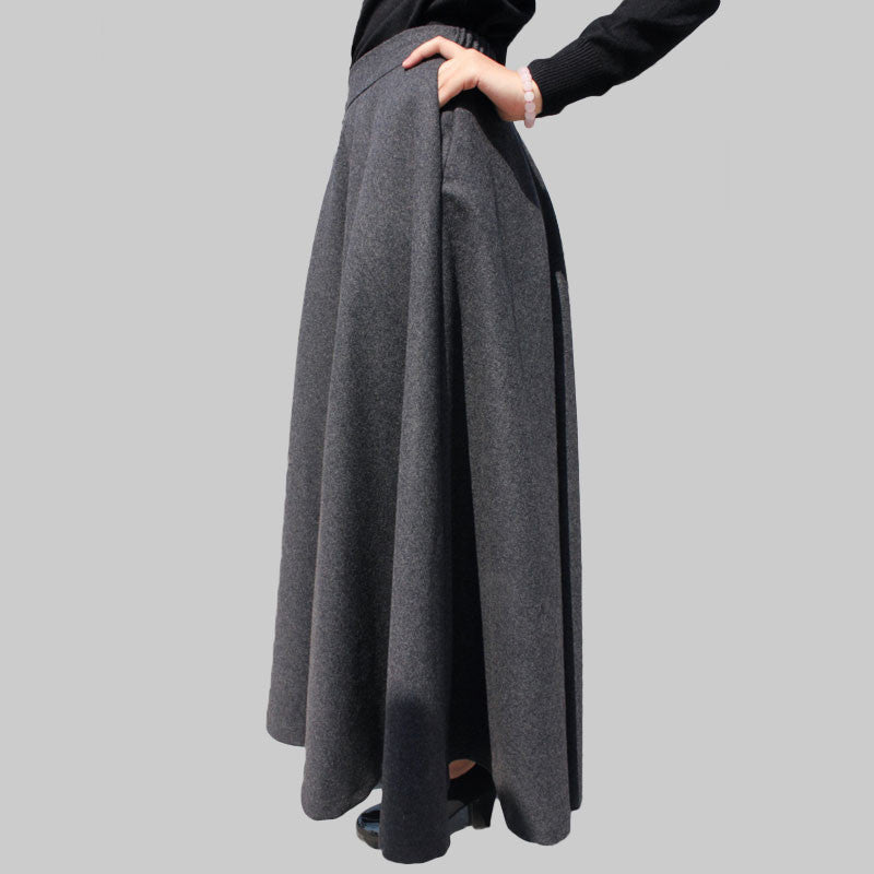 Dark Gray Wool Blend Maxi Skirt - Dark Grey Skirt with Extra Wide Hem