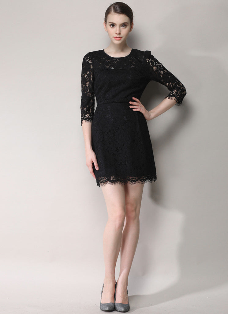 Black Lace Mini Dress with Scalloped Hem and Three Quarter Sleeves