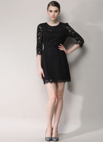 Black Lace Mini Dress with Scalloped Hem and Three Quarter Sleeves RD631