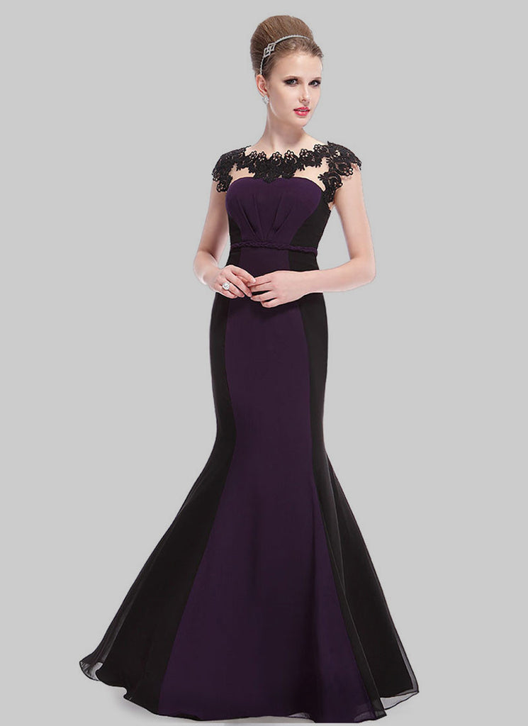 Black and Indigo Mermaid Evening Gown with Lace Details