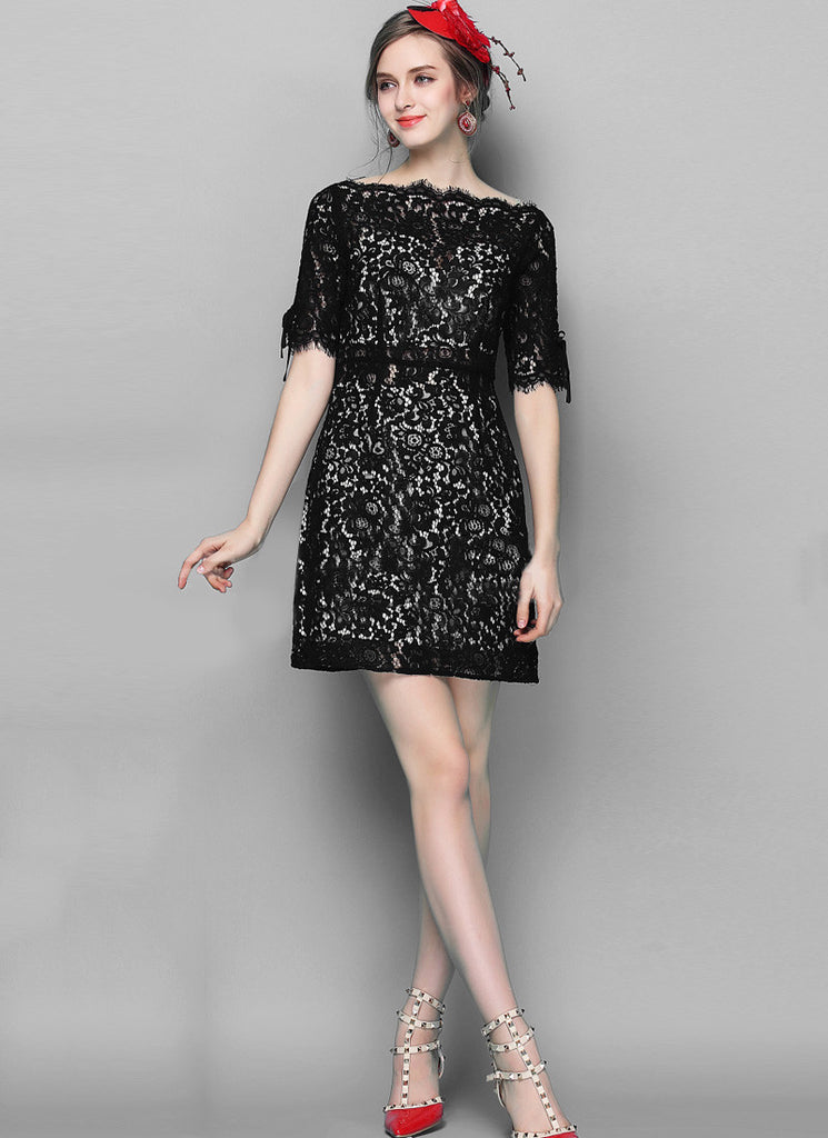 Black Lace Sheath Dress with Scalloped Sabrina Neck