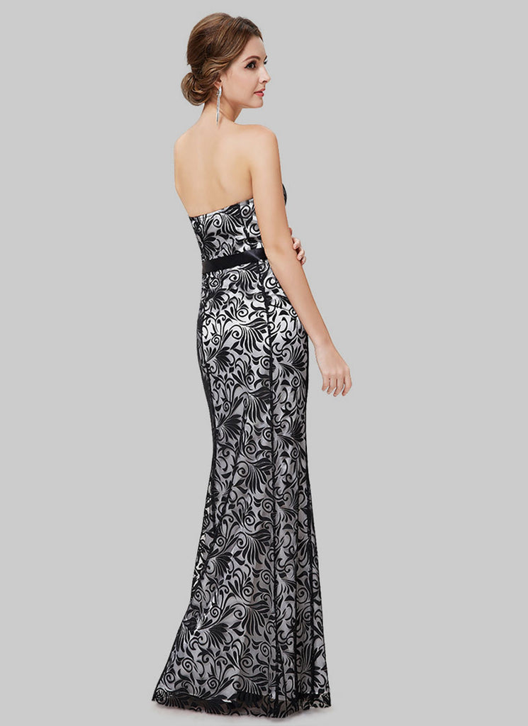 Strapless Black Lace Maxi Dress With Contrast Lining Rm526 Robeplus