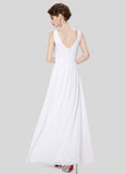 V Back White Evening Dress with Sequin and Drape Top