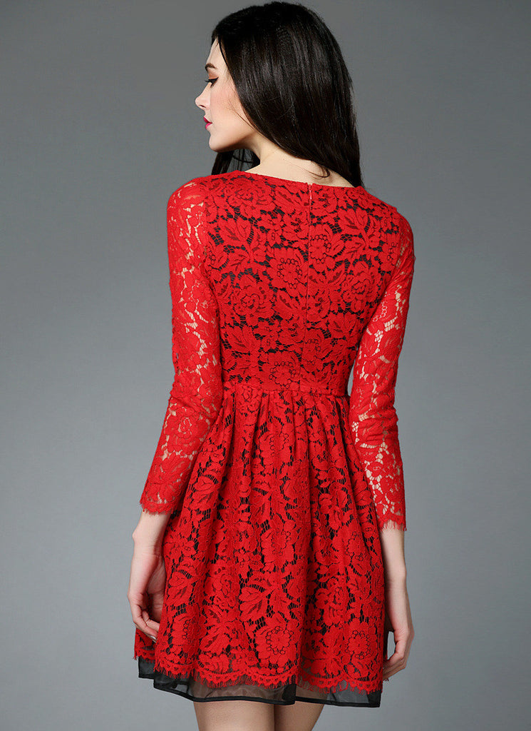 Red Lace Fit And Flare Mini Dress With Three Quarter Sleeves And
