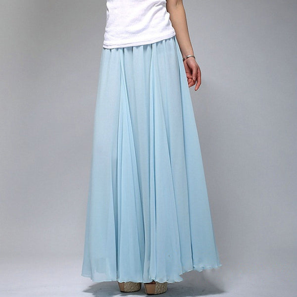 0d38ee4a4bba1 Sky Blue Chiffon Maxi Skirt with Extra Wide Hem – Long Light Blue Chif –  RobePlus