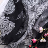 White and Black Floral Silk Scarf - Black Floral Printed Mulberry Silk Scarf - Floral Printed Silk Georgette Scarf Shaw - 2017-14