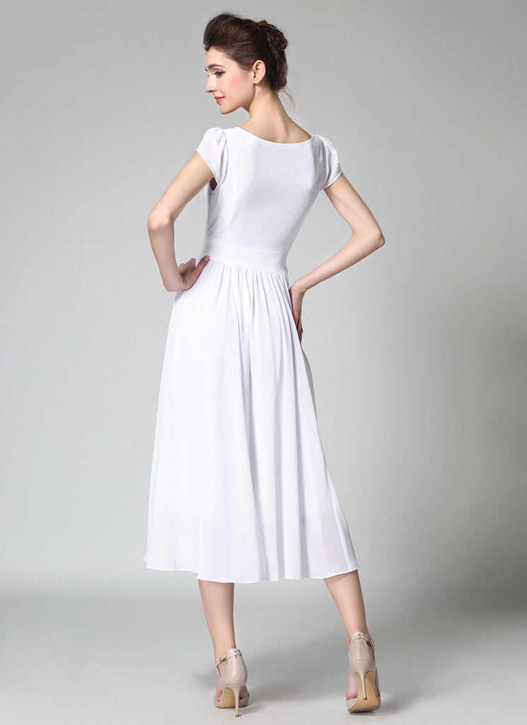 74c7638dc153 White Chiffon Midi Dress with Lace Details and Puff Cap Sleeves MD44 ...