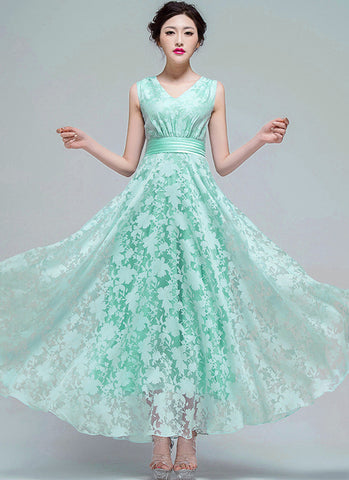 Light Green Organza Lace Maxi Dress with V Neck and Pleated Waist RM609