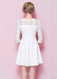 Half Sleeved White Lace Mini Fit and Flare Dress