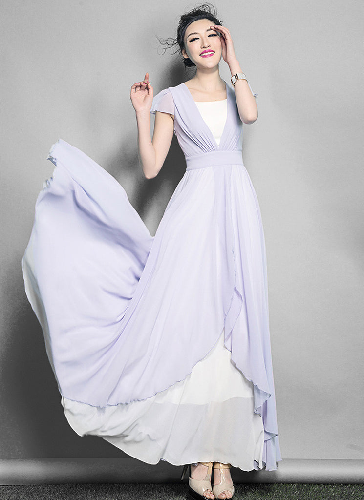 White Maxi Dress with Thistle Asymmetric Overlay