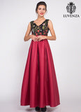 Black Embroidered Tulle Lace Bodice Prom Dress with Long Shiny Red Satin Skirt