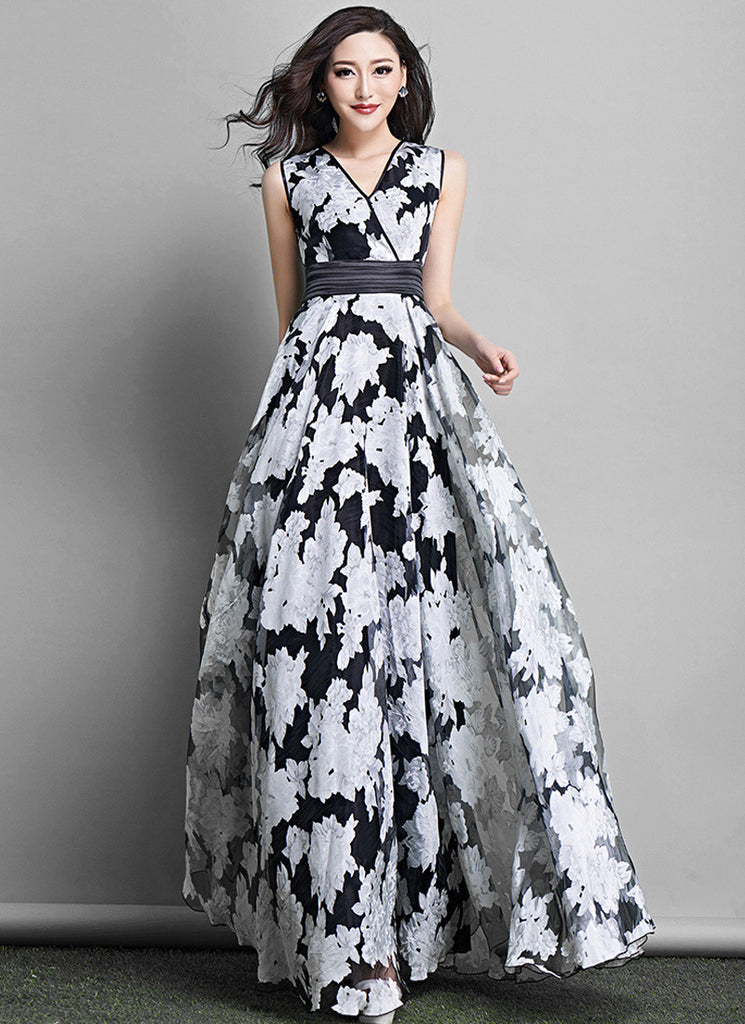 Black Floral Organza Maxi Dress with Pleated Waist and Faux Surplice Bodice
