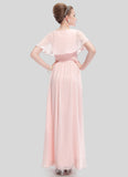 V Neck Light Pink Evening Dress with Cloak Top and Ruched Waist Yoke