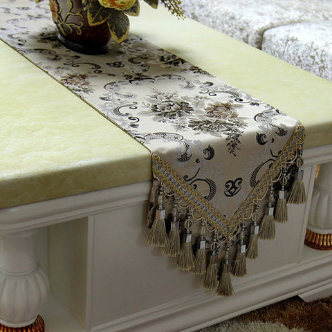 Retro Style Table Runner with Crochet Edge and Fringes TR7C