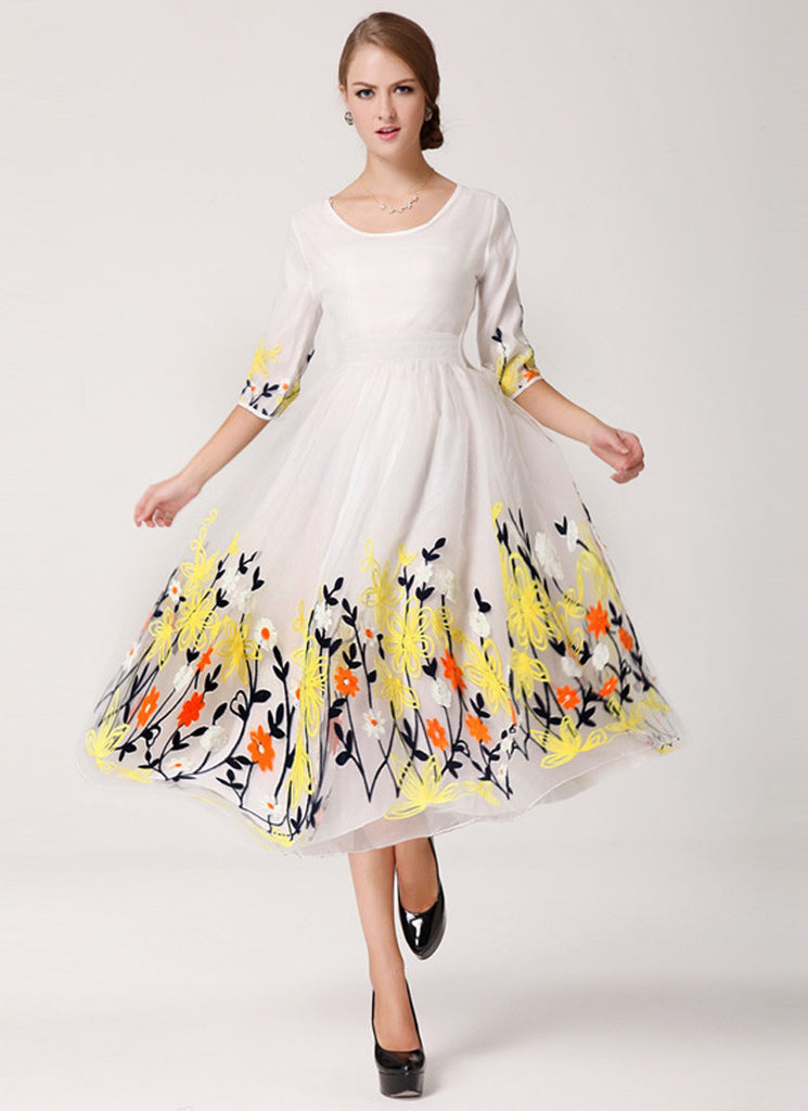 White Organza Tea Dress with Colorful Floral Embroidery on Skirt
