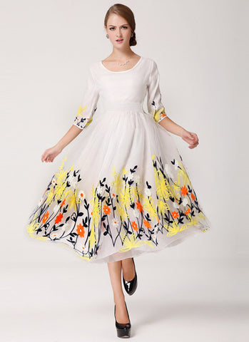 White Organza Tea Dress with Colorful Floral Embroidery on Skirt RM621