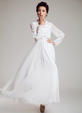 Long Sleeved White Chiffon Maxi Dress with Shirt Top RM588