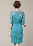 Lake Blue Lace Sheath Mini Dress with Half Sleeves
