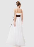 White Maxi Dress with Spaghetti Straps and Brown Sash
