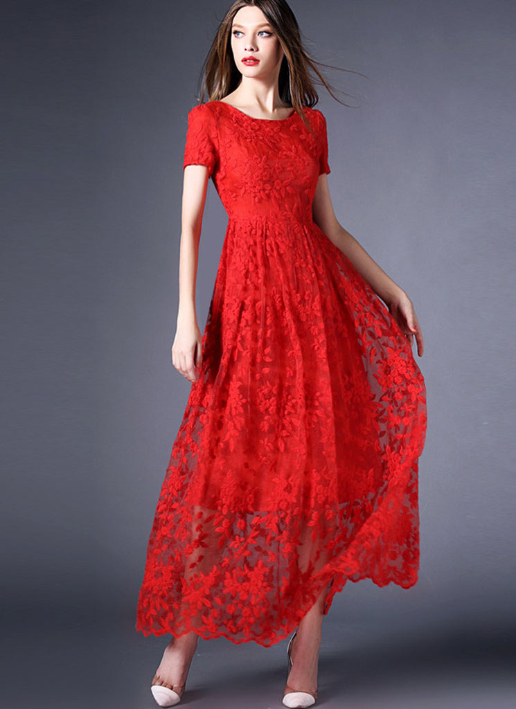 True Red Organza Lace Maxi Dress with Scalloped Hem