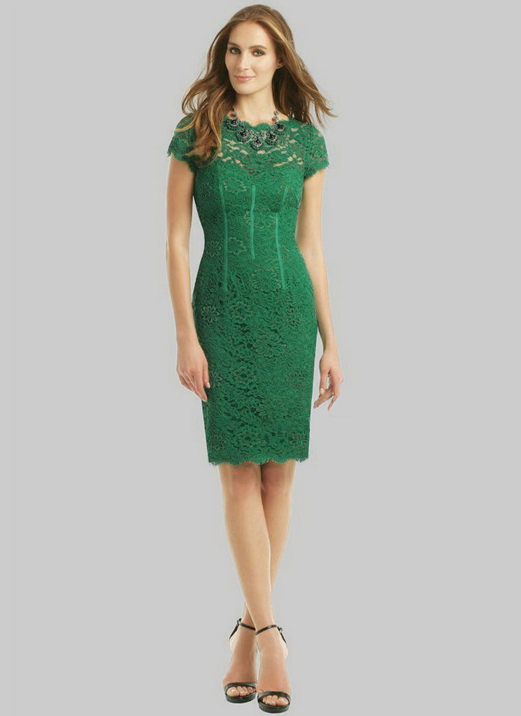 Green Lace Sheath Dress with Open Back and Eyelash Details RD314