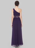 One Shoulder Purple Maxi Dress with Sequin Waist Yoke