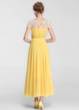 Yellow Chiffon Maxi Dress with Beige Lace Details and Cap Sleeves