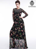 Black Chiffon Colorful Bird Print Maxi Evening Dress with Sheer Long Sleeves and A Line Silhouette