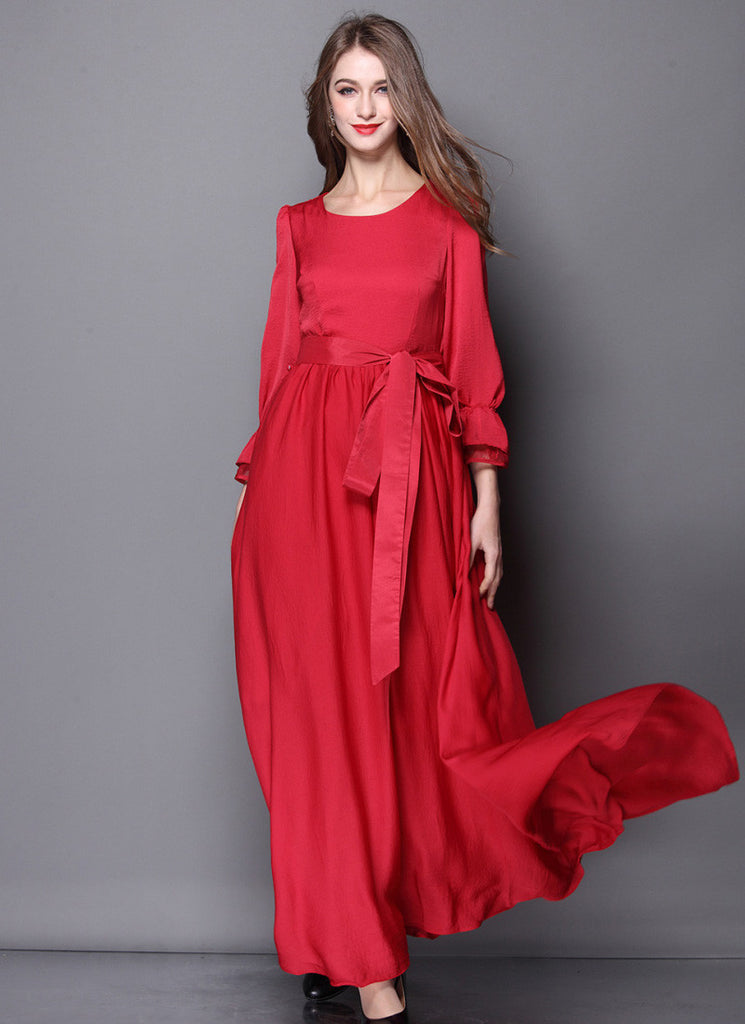 Open Back Long Sleeved Red Maxi Dress with Sash