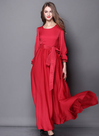 Open Back Long Sleeved Red Maxi Dress with Sash RM572