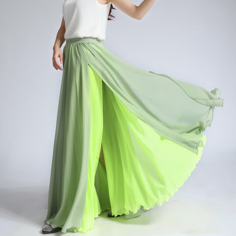 Mint Green and Lime Green Maxi Skirt - Contrast Colored Maxi Skirt - Long Layered Chiffon Skirt - SK6d