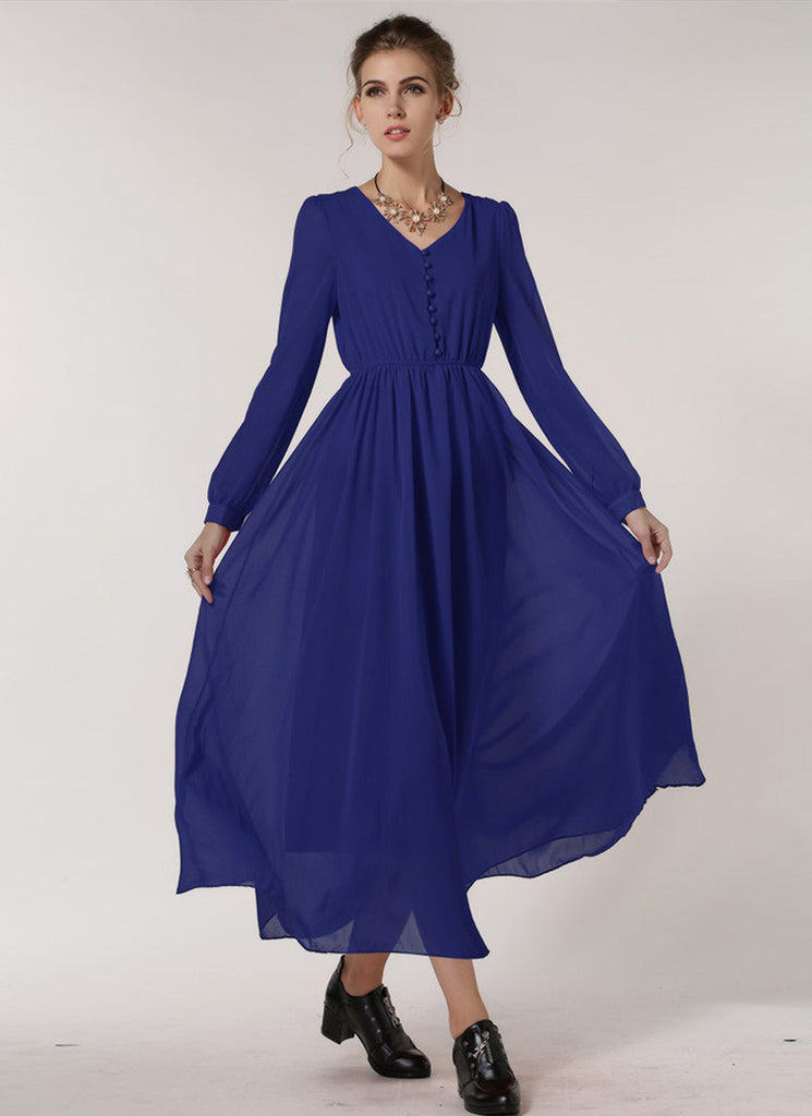 Long Sleeved Blue Chiffon Maxi Dress with V Neck