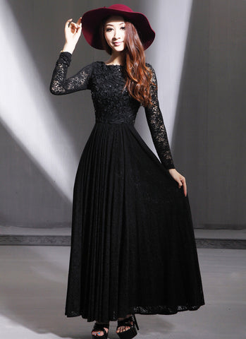 Long Sleeve Black Lace Maxi Dress with Scoop Back and 3D Lace Top RM593