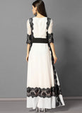 White Lace Chiffon Maxi Dress with Black Eyelash Lace Details