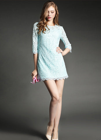 Light Blue (Pale Turquoise) Lace Mini Dress with Eyelash Details RD516