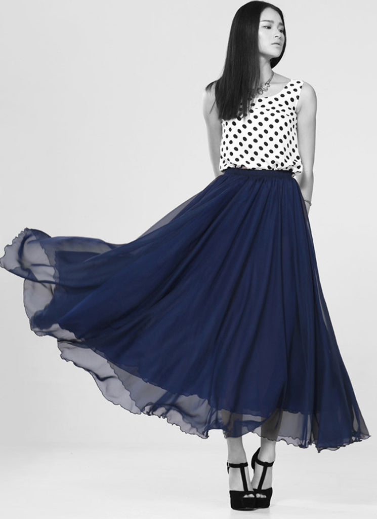 Blue Chiffon Maxi Skirt with Extra Wide Hem - Long Blue Chiffon Skirt