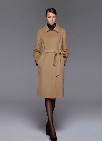 Belted Camel Color Cashmere Wool Coat RB102