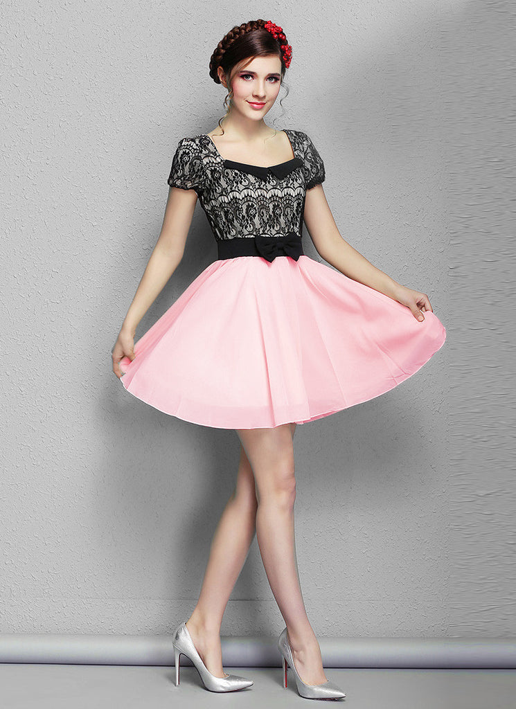Black Lace Mini Dress with Pink Skirt and Modified Peter Pan Collar