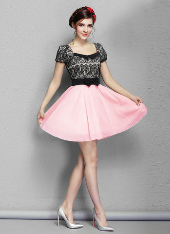 Black Lace Mini Dress with Pink Skirt and Modified Peter Pan Collar RD573