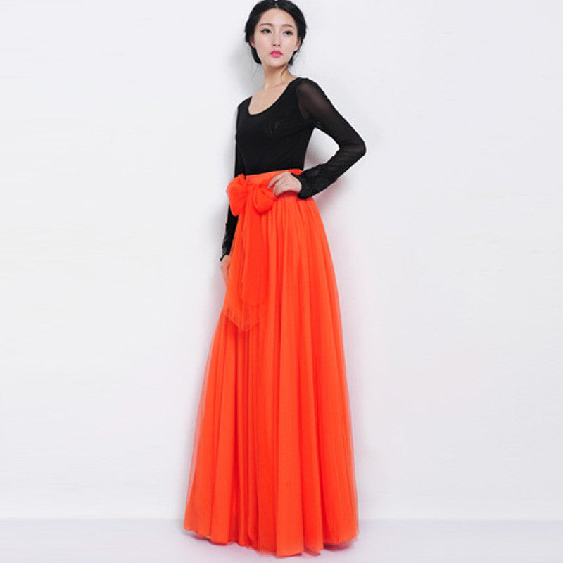 22f8f5199e9 Orange Red Tulle Maxi Skirt with Bow Sash and Extra Wide Hem - Long ...