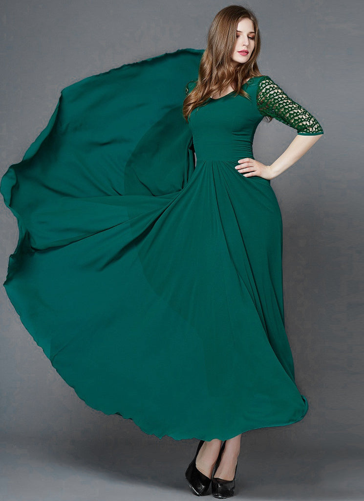Dark Sea Green V Neck Maxi Dress With Elbow Lace Sleeves